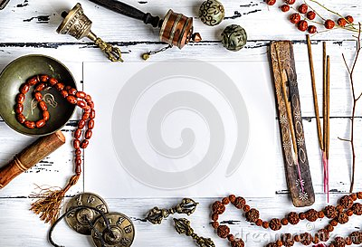 Religious musical instruments for meditation and alternative med Stock Photo