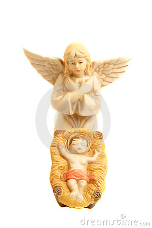 Religious nativity scene with baby Jesus and Angel