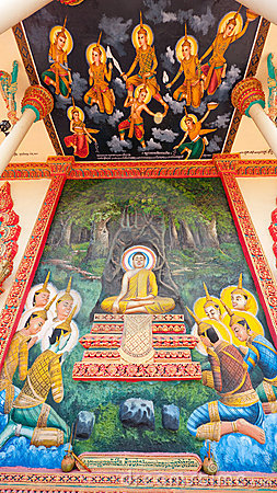 Religious painting at Buddhist temple in Cambodia