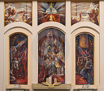 Religious painting in church interior