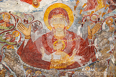 Religious paintings in Sumela Monastery