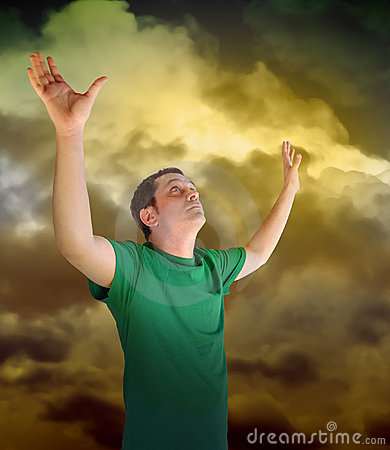 Free Religious Peace Man Reaching For The Sky Clouds Stock Photo - 16211560