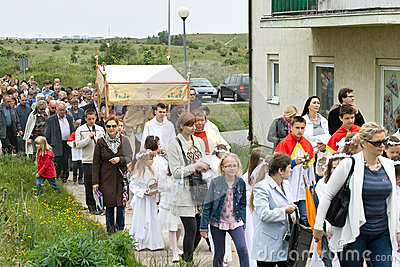 Religious procession at Corpus Christi Day. Editorial Photography