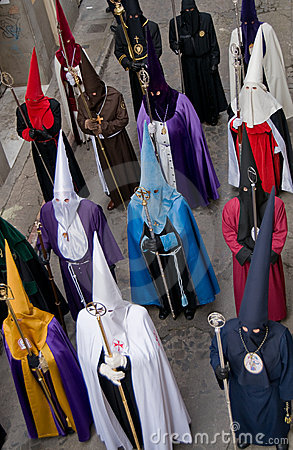 Religious processions in Holy Week. Spain Editorial Stock Photo
