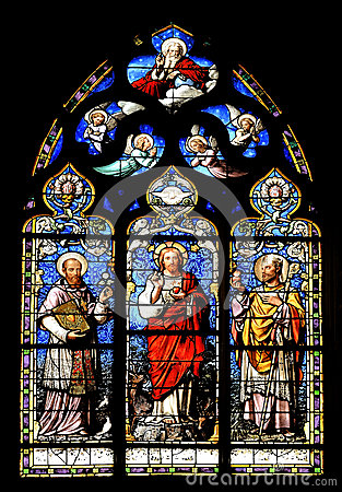Religious stained glass mural