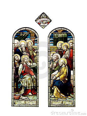 Religious stained glass windows, cathedral