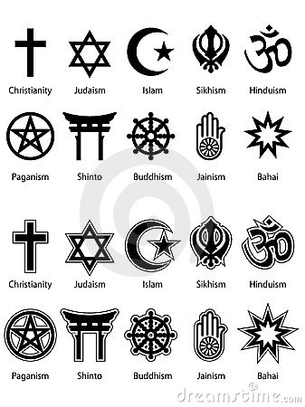 collection of the 10 biggest religious symbols done in two different ...