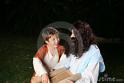 Religious teacher with boy