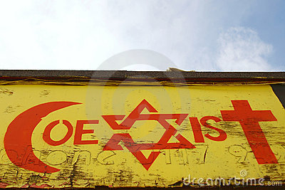 Religiös themed tolerans för grafitti Redaktionell Foto