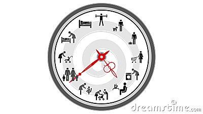 Reloj Animado Aislado En El Fondo Blanco Incons 250 Til Lazos