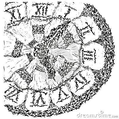 Reloj antiguo estilizado abstracto de B&W