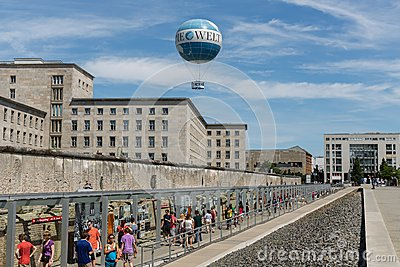 Remains of Berlin Wall and Welt Balloon Editorial Photography