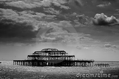 Remains of Brighton Pier left standing in sea