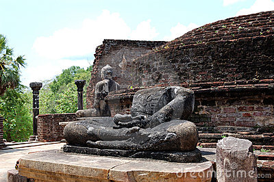 The remains of Lord Buddha statues and stupa