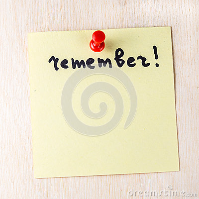 Free Remember Note On Paper Post It Royalty Free Stock Photo - 69676695