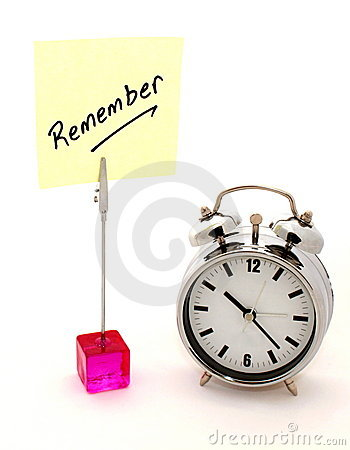 Remember, yellow note and alarm clock