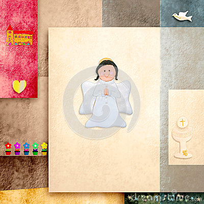 Cute Angel First Holy Communion invitation card