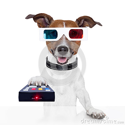 Remote control 3d glasses tv movie dog