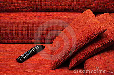 Remote control on sofa