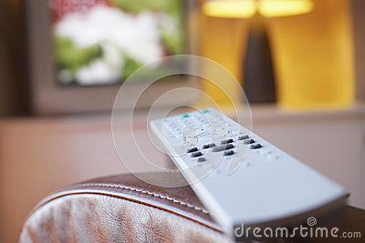 Remote Control And TV In Living Room