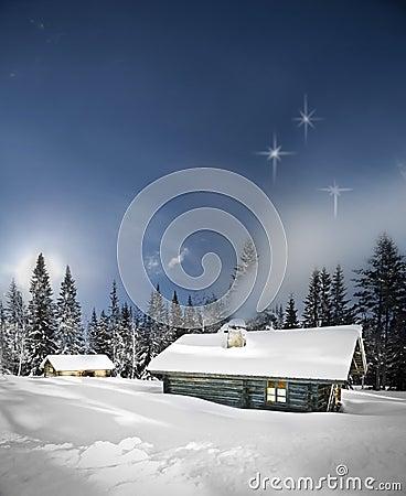 Remote log cabin in winter
