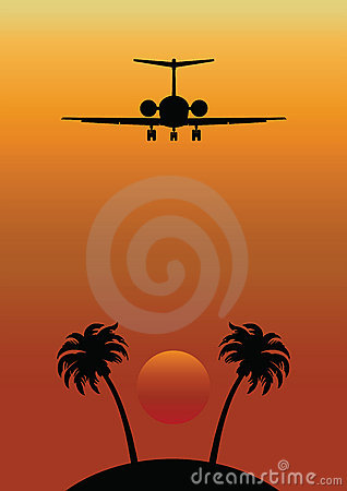 Remote Tropical Island with Airplane Flying Over
