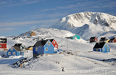 Remote village in winter, Greenland
