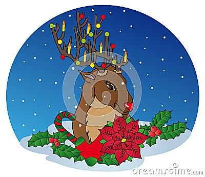 Ren mit Weihnachtsdekoration