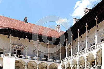 Renaissance arcades. Wawel Royal Castle in Cracow