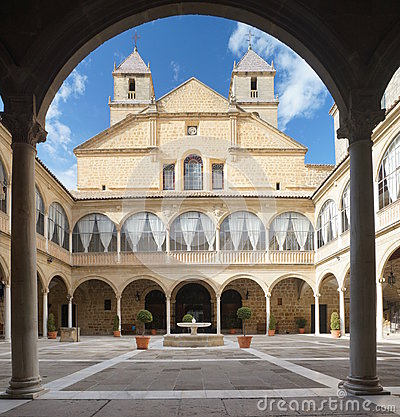 Renaissance Courtyard of Santiago Hospital Stock Photo