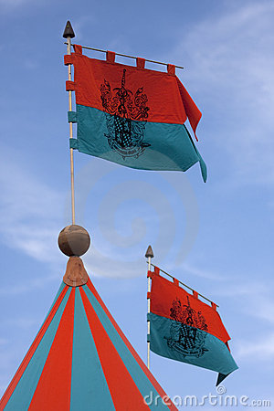 Renaissance military tents and flags in the camp