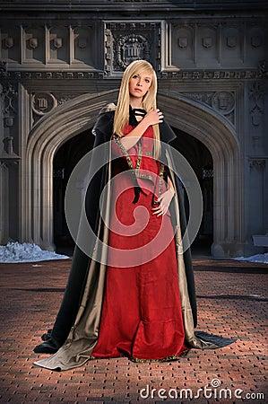 Renaissance woman in front of Castle