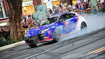 Renault Megane sports hatch performing stunts Editorial Stock Image