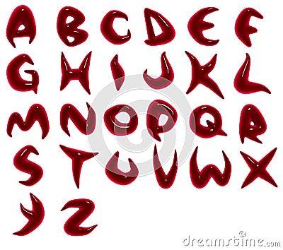 render of blood red alphabet fonts