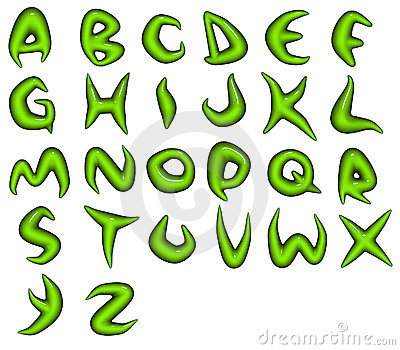 Render of green bio eco alphabet fonts