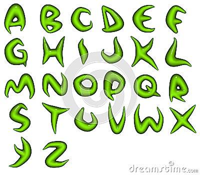 Render of green bio eco alphabet fonts