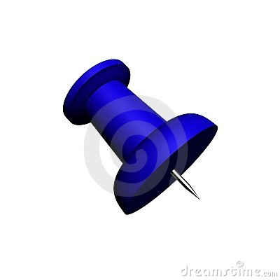 Render of a large blue push-pin