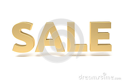 Render of the word sale, gold
