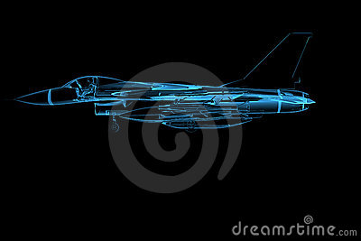 Rendered blue xray transparent f16 falcon