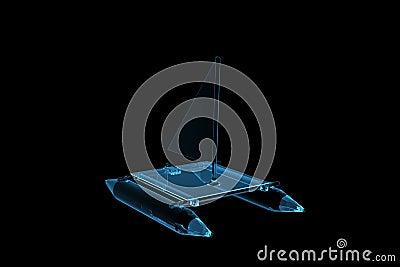Rendered blue xray transparent katamaran