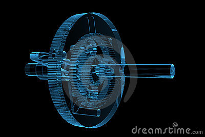 Rendered blue xray transparent planetary gear