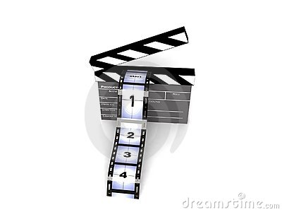 Rendered clapperboard with filmstrips