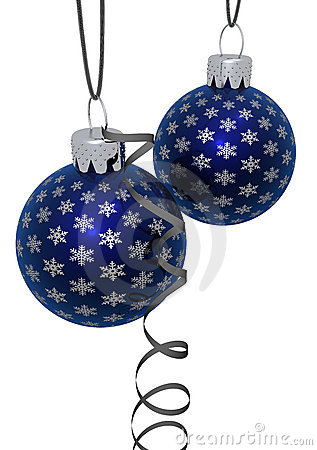 Rendered Hanging Blue Ornaments