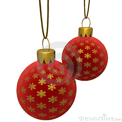 Rendered Hanging Red Ornaments