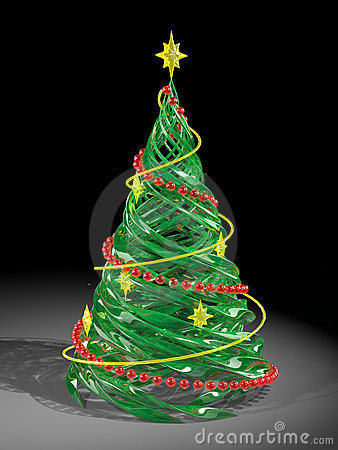 Rendered stylized Christmas pine tree