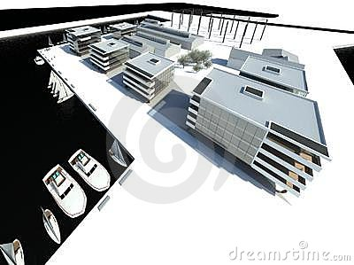Rendering: modern buildings, embankment