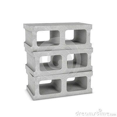 Free Rendering Of Three Cinder Blocks Isolated On The White Background Stock Photography - 80696452