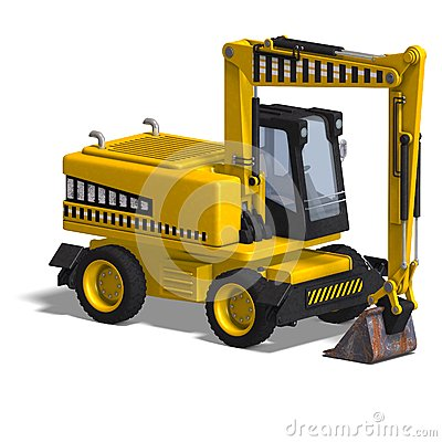 Rendering of a wheel excavator with Clipping Path