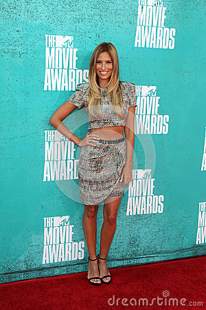 Renee Bargh arriving at the 2012 MTV Movie Awards Editorial Image