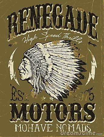 Free Renegade Motors Vintage Design For Apparel Royalty Free Stock Images - 33586059